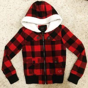 FOX RACING girls checkered flannel jacket - XS